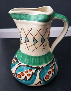 Vintage Art Deco Myott Son & Co Hand Painted Pinch Top Persian Jug 8974