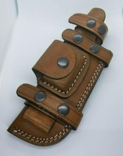 "Horizontal Scout Style Knife Sheath Fire Rod Genuine Leather Fits 5"" - 6"" Blade"