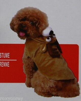 Christmas Brown Reindeer Pet Dog Coat Costume Size Medium 15-30 lbs NWT - Dog Reindeer Costume