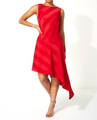 Roman Originals Red Satin Asymmetric Hem Midi Dress UK Sizes 10 12 14 16 18 20