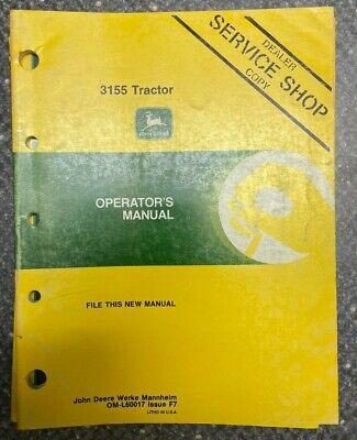 John Deere 3155 Tractor Operator Manual Om-l60017 L-4