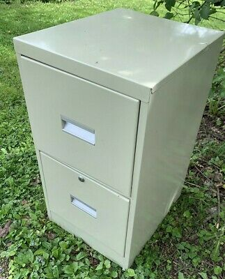 Metal 2 Drawer Filing Cabinet Tan 2h X 15w X 18d Office Files