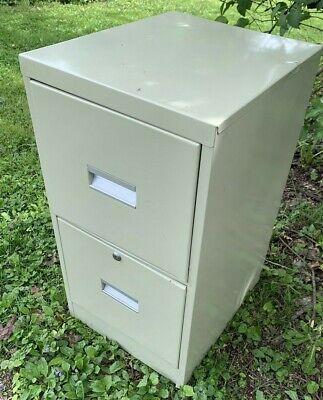 Metal 2 Drawer Filing Cabinet Tan 2h X 15w X 18d Office Files