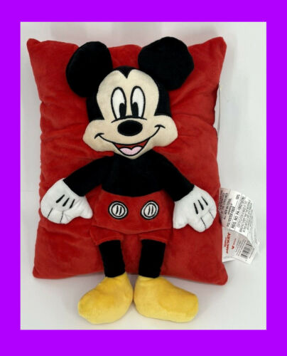 🌴 Disney Mickey Mouse Pillow 3D 14in Plush Stuffed Toy Red So Soft & Cuddly NEW