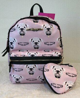 Betsey Johnson Pug Puppy Dog Blush Travel School Backpack & Heart Pouch (School Puppy)