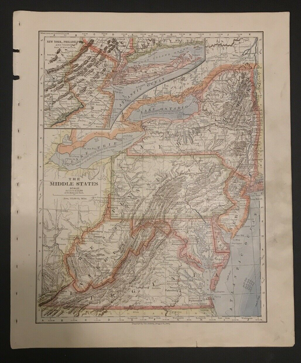 Antique Map New York Jersey Pennsylvania West Virginia Maryland Delaware 1883