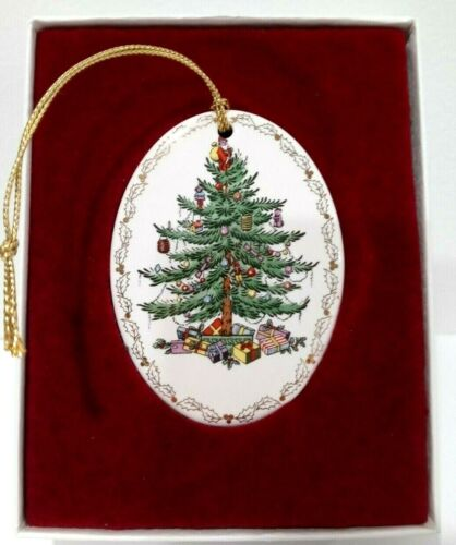 1990s Spode Christmas tree oval ornament in box