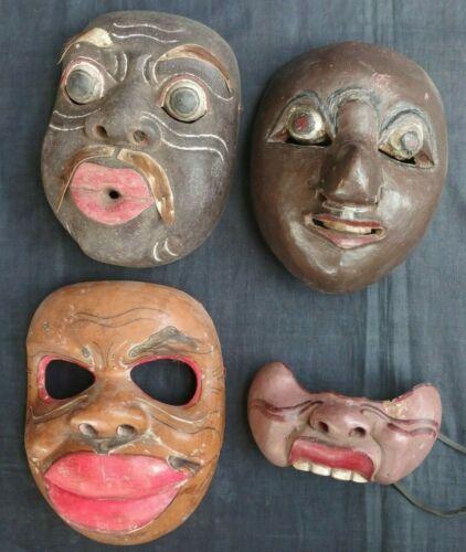 4 Old Worn Balinese Topeng Masks - Used for  Drama Dance - Bondres