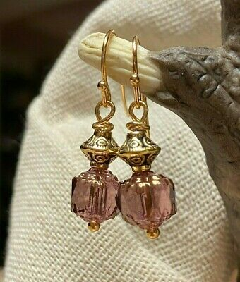 Lavender Czech Glass Cathedral Bead & Gold Toned Dangle Drop Earrings 1