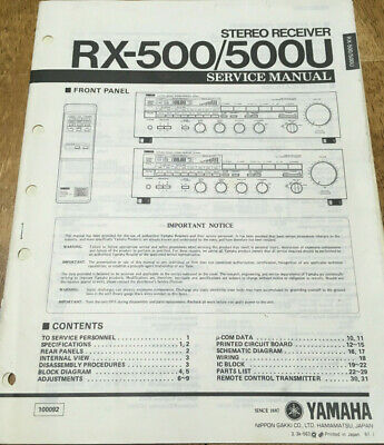 YAMAHA RX-500 RX-500U STEREO RECIEVER ORIGINAL SERVICE TECHNICAL MANUAL  for sale  Shipping to India