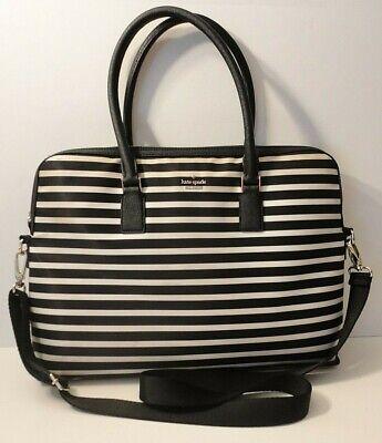 Kate Spade Black White Stripe Laptop Office Travel Shoulder Bag Purse Case