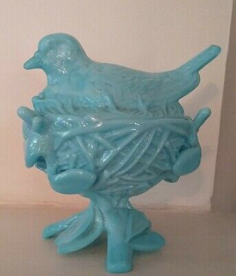 Blue Milk Glass Robin Pigeon Hen Bird on Nest, Covered Candy Dish, Westmoreland
