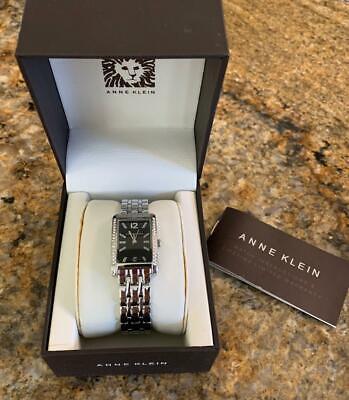 NIB Anne Klein Wms Swarovski Crystal Studded Silver Tone Bracelet Analog Watch