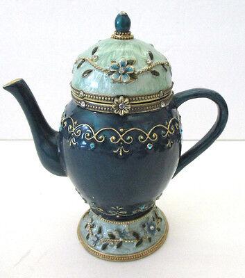 Cloisonne Enamel Teapot Trinket Music Box Green Works