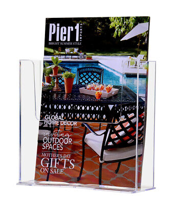 Counter Top Brochure Holder For 7.5 Literature Lot Of 6 Clear Acrylic