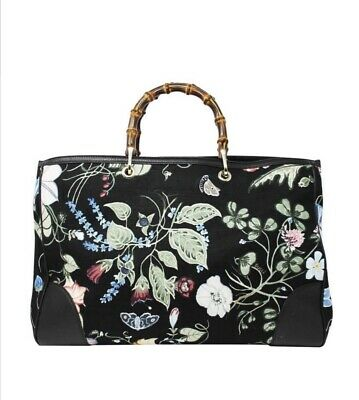 af5a748eb3e3 NWT Gucci Kris Knight Canvas Floral Bamboo Tote Bag Purse Handbag Large  Flora