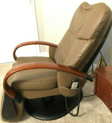 SHARPER IMAGE HTT-10-CRPV ROBOTIC MASSAGE CHAIR BROWN LEATHER - HUMAN TOUCH TECH