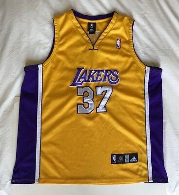 0dfded412 ADIDAS RON ARTEST  37 LOS ANGELES LAKERS GOLD SWINGMAN NBA JERSEY SIZE 52