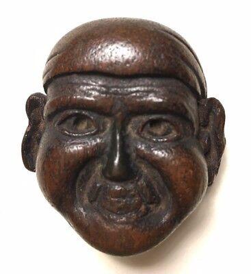 Meiji Era, Wooden Japanese Netsuke Mask (Mennetsuke) Wearing a Hachimaki -Patina