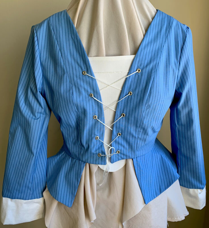 Outlander/Highlander Blue Stripe Bodice L 18th Cent. Repro. NWOT Theatre Costume