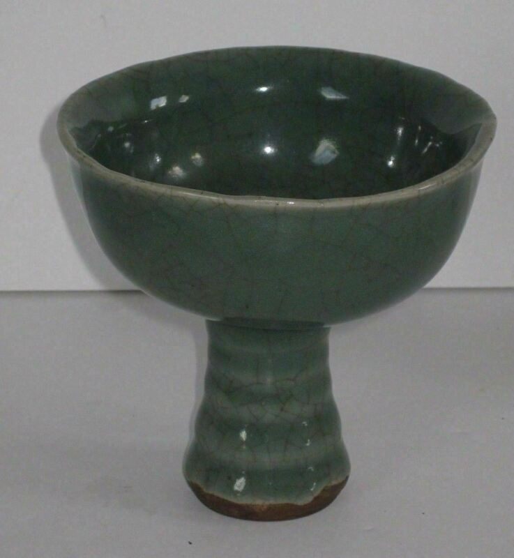 Antique Chinese Longquan Celadon Stem Cup bowl Conical Base Crackled  Glaze