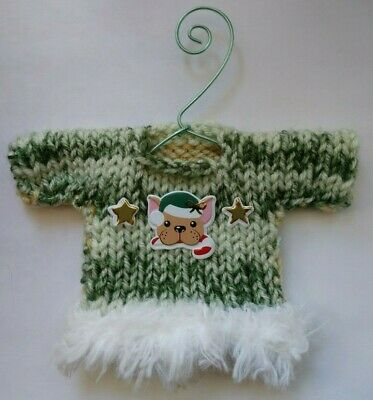 Green and White Bulldog  Themed  Mini  Hand Knit Sweater Christmas  Ornament  ()