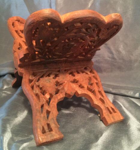 Vintage Handcarved Wood Wooden Rack Hand Carved Stand