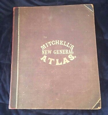 1874 AUGUSTUS MITCHELL NEW GENERAL ATLAS MAPS in COLOR