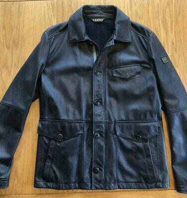 Hugo Boss men's orange label leather jacket - dark blue medium?
