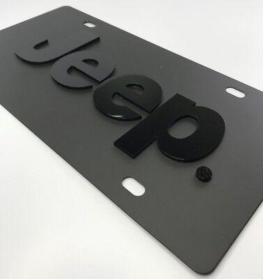 Vanity License Plate - Black w/ Subdued Tactical Black Steel Emblem For Jeep