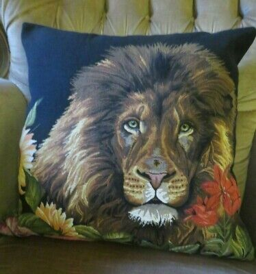 VELVET BACKED KING OF THE AFRICAN JUNGLE LION TAPESTRY CUSHION COVER ONLY