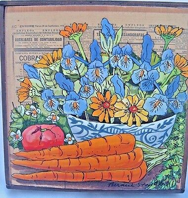 Mixed Media Bernice Stapleton Original Art flowers vegetables wood frame Signed
