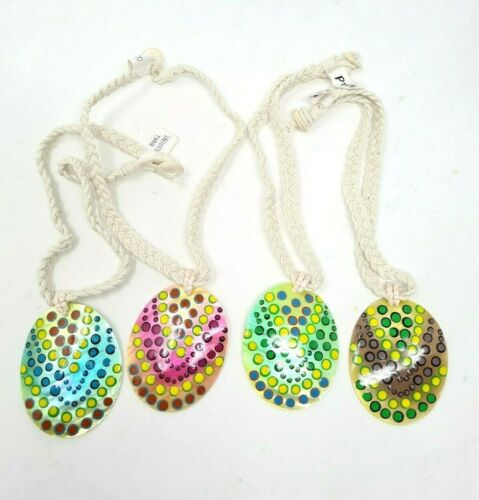 4 pc Shell Pendant Necklaces chokers Mother of Pearl Oval Shaped Hemp Beach