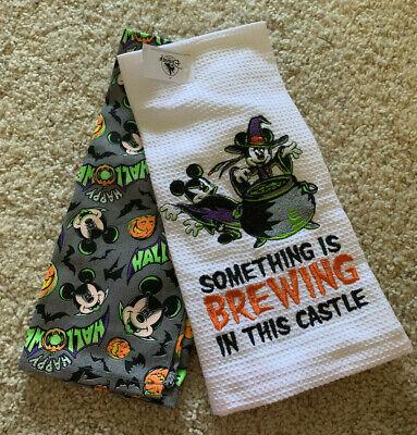 NWT Disney Mickey Minnie Halloween 2-Pack Kitchen Cotton Hand Towels