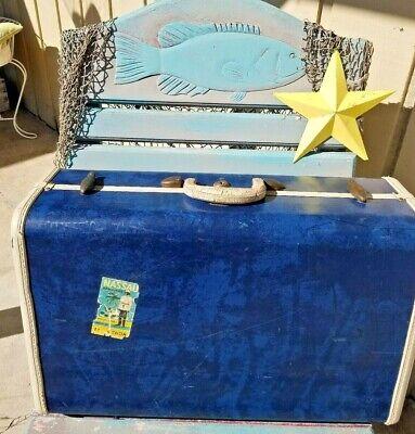 """Vintage Shwayder Bro.Samsonite 21"""" Blue Marble Suitcase w/Key-Charming Art Deco"""