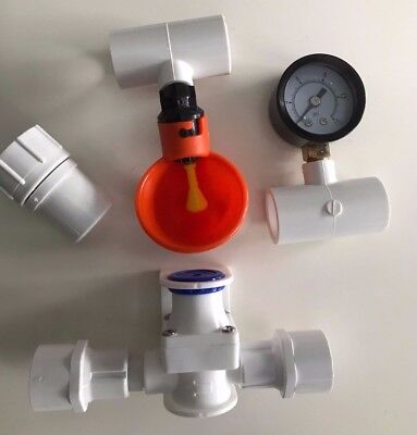 5 Cup Chicken Pressure Regulator Water System + Pvc Brack...
