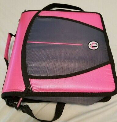 Case-it Mighty Zip Tab 3-inch 3 Ring Zipper Binder Pink With Carrying Strap
