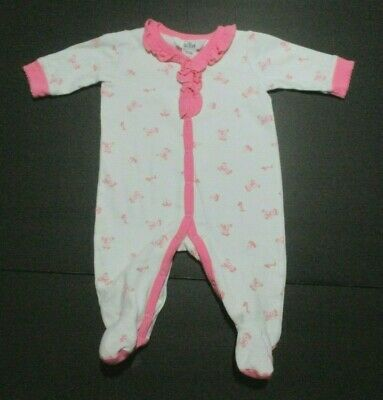 INFANT GIRLS BABY GUESS PINK TEDDY BEAR FOOTIE OUTFIT SIZE 0-3 MONTHS - Teddy Bear Baby Outfit