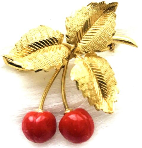 MARIO BUCCELLATI 750 ITALY 18k GOLD & CORAL CHERRIES BRANCH LEAVES BROOCH PIN