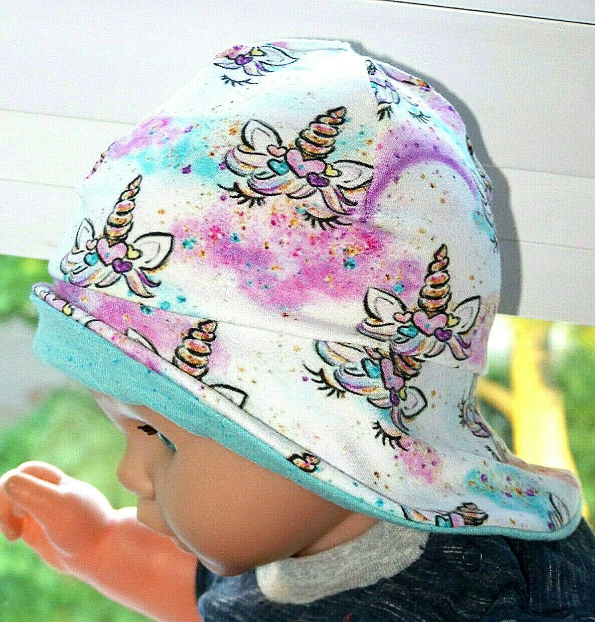 Baby Sonnenhut Mütze Sweat Einhorn 44-46 cm  KU passend Handmade*Neu
