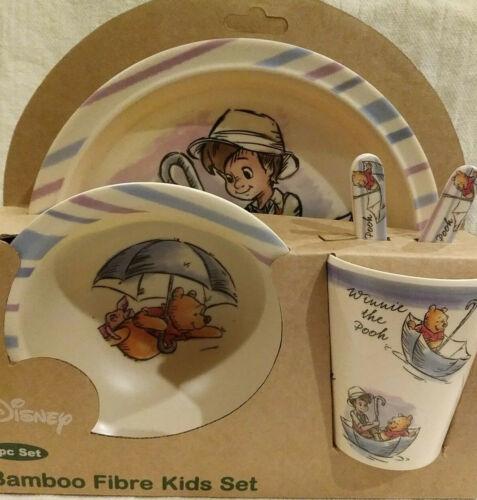 DISNEY Winnie the Pooh 5pc Rainy Days Bamboo Fibre Bambooware Kids Dish Set NEW