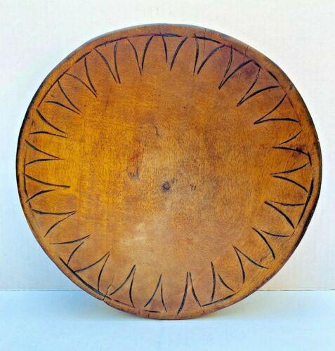 Antique Primitive Unusual Trim Wooden Bowl Hand Carved Farmhouse Museum Quality
