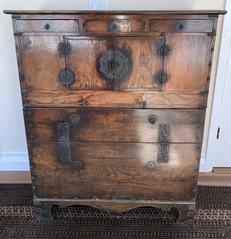 Antique Korean Bandaji Chosun Chest w Forged Iron Hardware Dovetail Pegged 1900