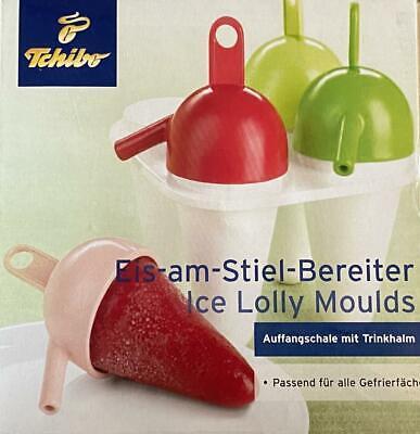 TCHIBO Eis-am-Stiel-Bereiter Ice Lolly Moulds 4 Eis,Trinkhalm TCM, Popsicle