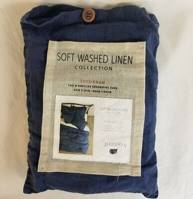 Anthropologie Soft Washed Linen Collection Navy Blue Euro Sham