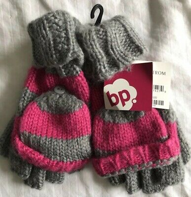 New BP Nordstrom Pink Gray Striped Convertible Gloves Ladies Women Winter Knit - Striped Convertible Glove
