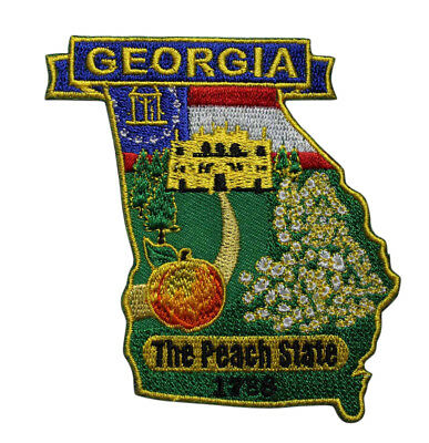 State Of Georgia Flag Embroidered Iron On Patch - Travel Souvenir GA 215-F, used for sale  Shipping to Canada