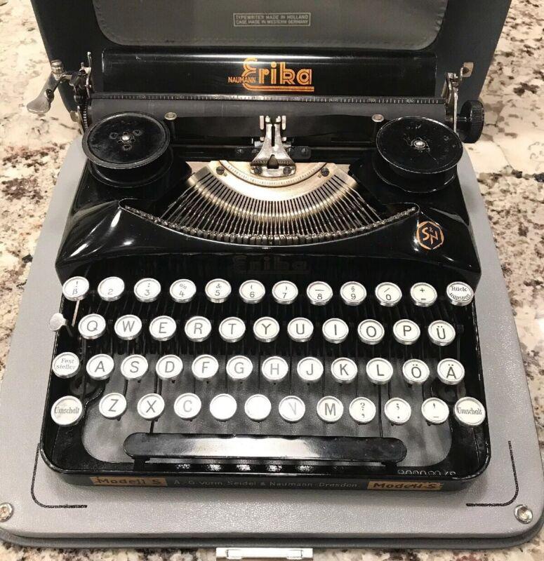 VTG Erika Seidel & Nauman Dresden Modell/Model S Germany Typewriter & Case 1939