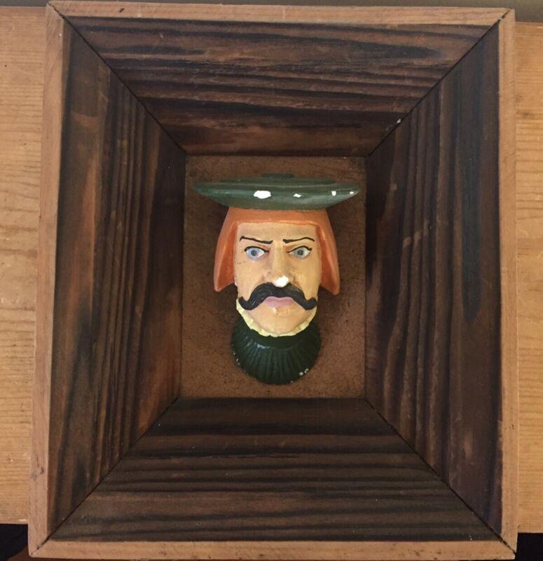 Vtg Wawel Castle Carved Plaster Male Head w Hat Wood Art Souvenir Krakow Poland