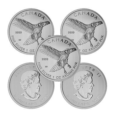 2015 1 oz Canadian Silver Red-Tailed Hawk Coin (BU, Lot of 5)